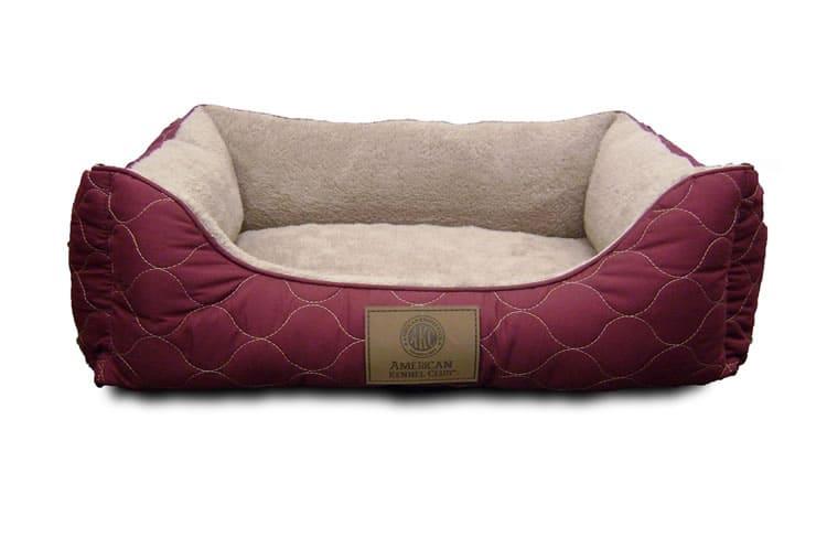 American Kennel Club bolster dog bed burgundy